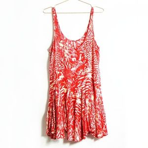 Free People Red Printed Swingy Tunic Dress S